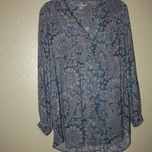 Lucky Brand 1X Long Sleeve Button-up Blouse